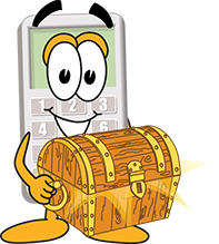Calcy holding treasure chest.